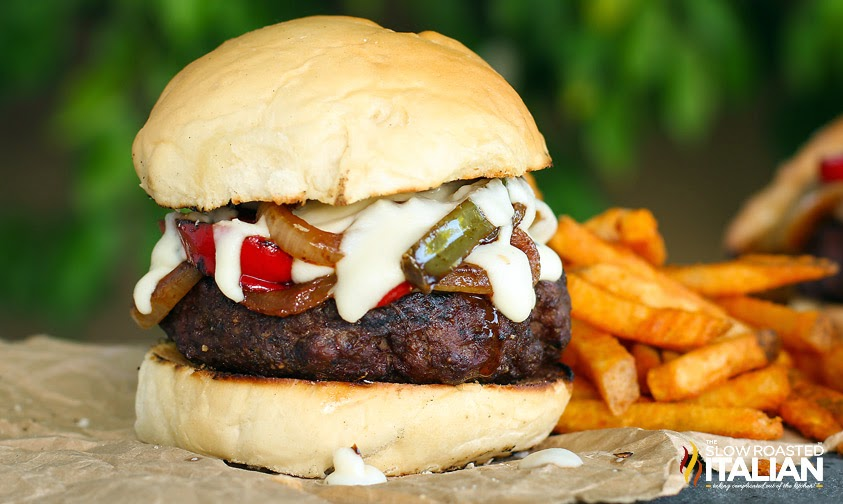 Philly Cheesesteak Gourmet Burger #TSRISummer #burger #recipe
