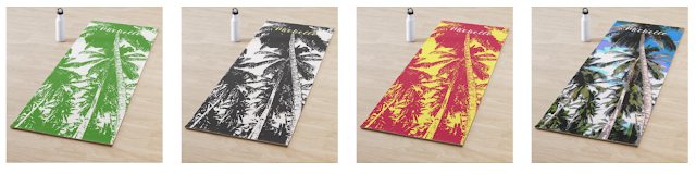 Yoga Mats with palm tree designs and in a selection of different colours.