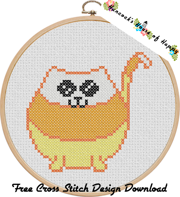 Candy Corn Cat Free Halloween Cross Stitch Download