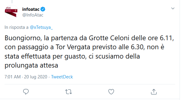 Situazione del trasporto pubblico di Roma di lunedì 20 luglio