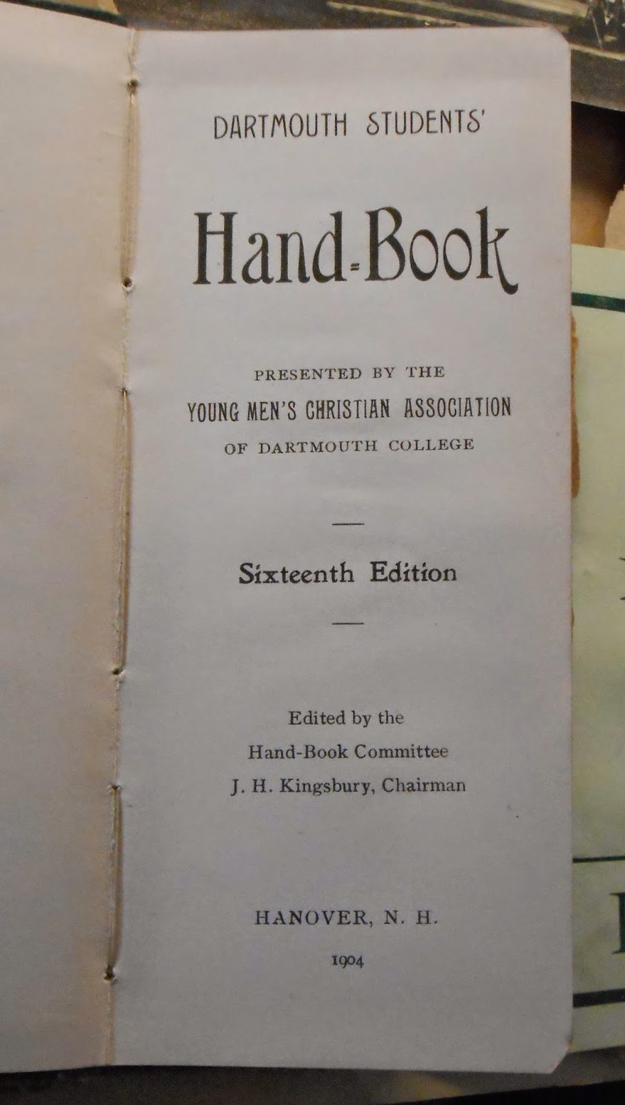 The title page for a student hand-book.