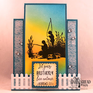 Our Daily Bread Designs Stamp Set:Brother in Christ, Paper Collection: By the Shore, Custom Dies: Center Step A2 Card, Center Step A2 Layers, Lacey Corners, Fence