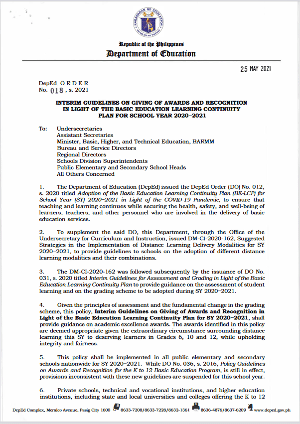 Deped: Interim Guidelines on Giving of Awards and Recognition in Light of the Basic Education Learning Continuity Plan for School Year 2020–2021