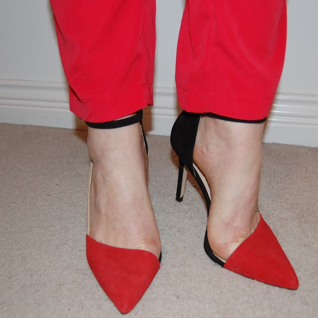 Red suede colorblock Zara pumps