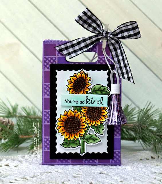 You're so Kind Gift Bag by Larissa Heskett for Newton's Nook Designs  using Sunflower Days, Gingham Stencil and Distress Oxide Inks #newtonsnook #sunflowerdays #giftbags