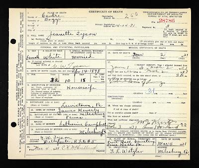 Janette Heverly Tyson Death Certificate
