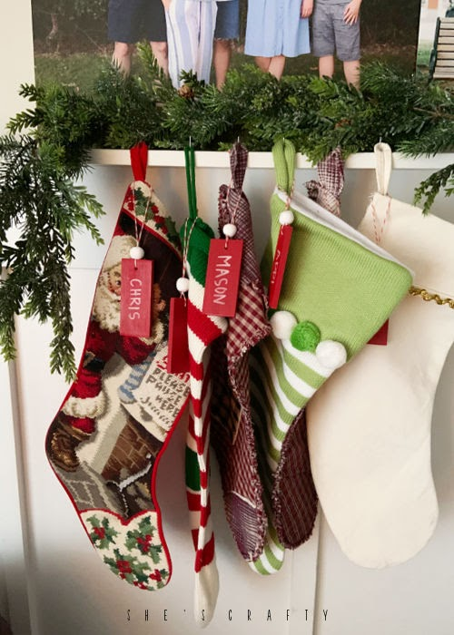 DIY stocking name tags with supplies you probably have on hand
