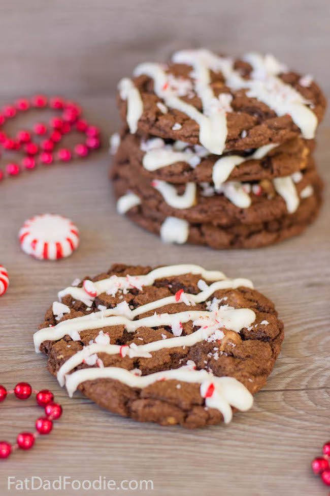 Chocolate Peppermint Cookies by Fat Dad Foodie featured at Pieced Pastimes
