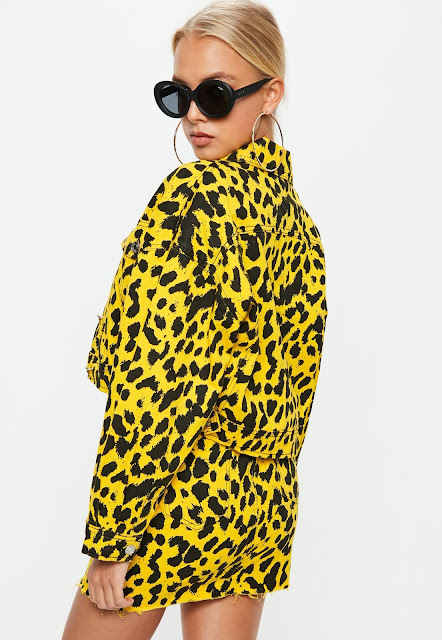 yellow leopard print boxy denim jacket - The best of 80's Fashion