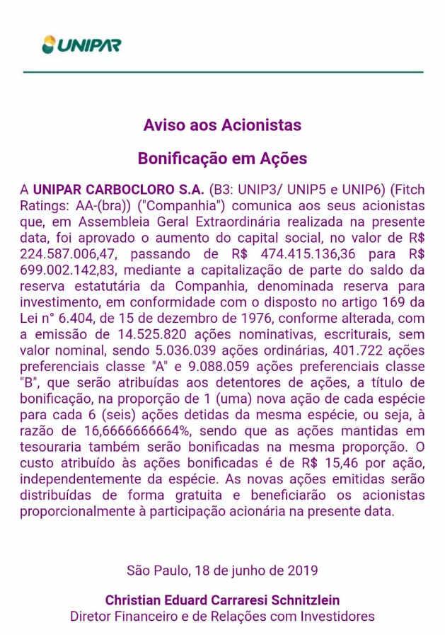 UNIP3, UNIP6 Bonificação