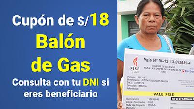 Cupón de 18soles Balón de Gas Consulta con tu DNI si eres beneficiario