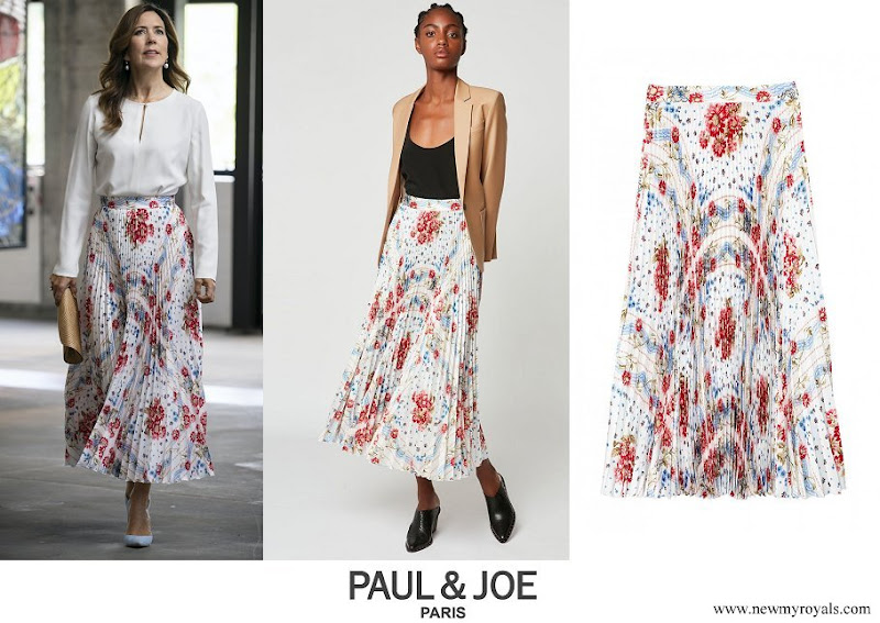 Crown Princess Mary wore a sunray pleated scarf print skirt from Paul and Joe