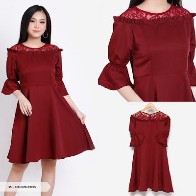 trump blouse natal warna merah model terbaru 2018-2019