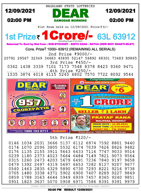 12-09-2021 Lottery Sambad Live Yesterday Results : 2 PM, 4 PM, 8 PM [ Lottery Result ]