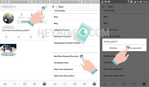Cara Menghapus Aktivits Pencarian Instagram
