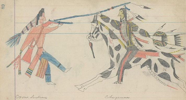 Great Plains Ledger Drawings : Dariusz caballeros fighting cheyennes libre