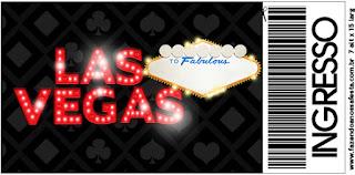 Tarjeta con forma de Ticket de Fiesta de Las Vegas.