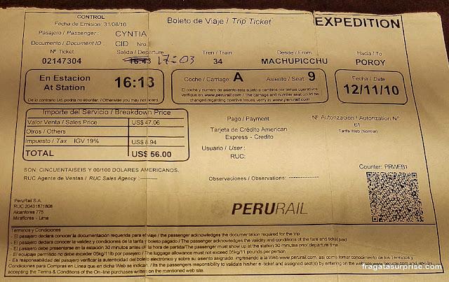 Passagem de trem para Machu Picchu