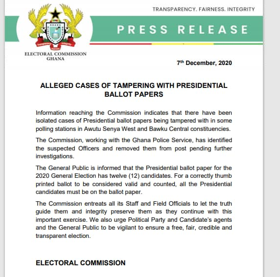 Breaking: EC Press Release On Allegations