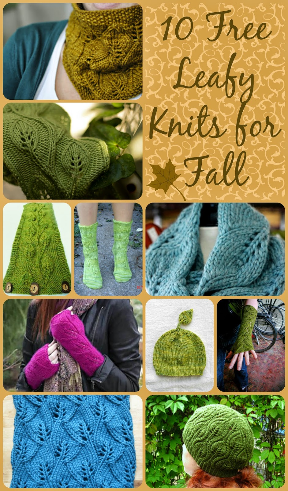 Chaleur: 10 Free Leafy Knits for Fall