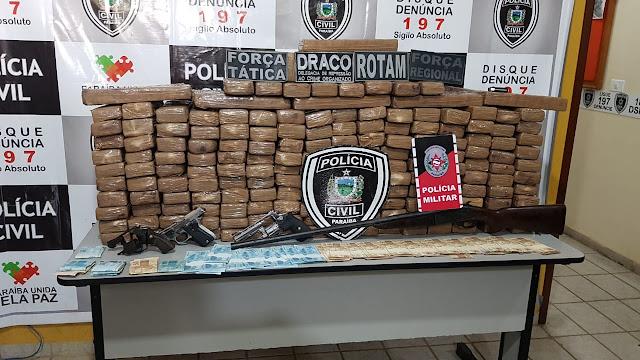 Policia prende três pessoas e apreende 500 quilos de maconha durante operação no Sertão