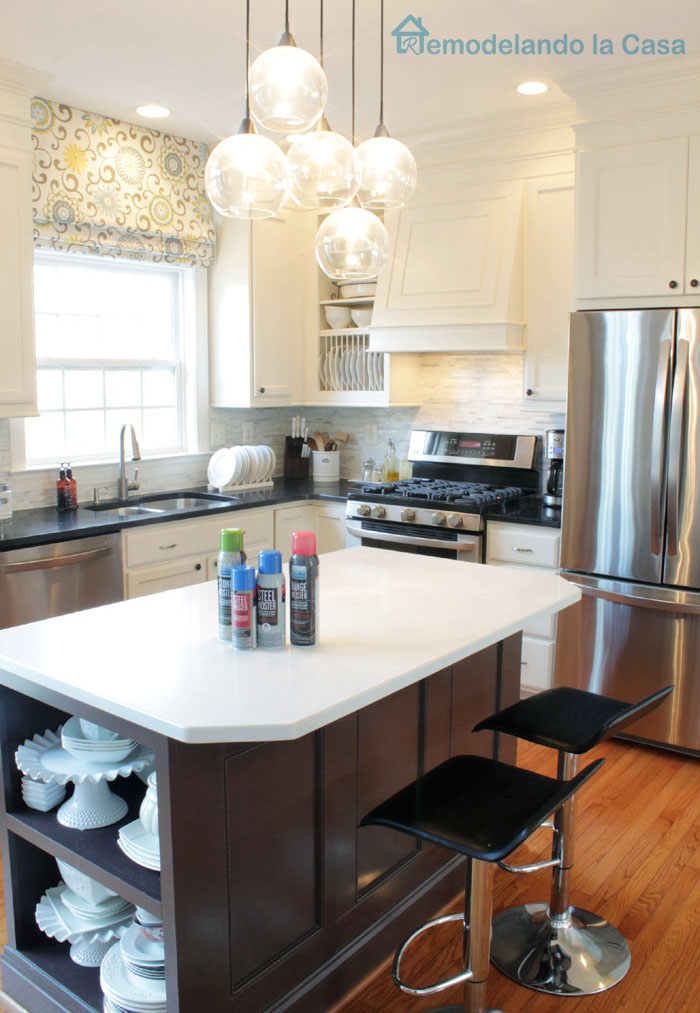 kitchen cleaned up with Meister products for stainless steel appliances, countertops, range, dishwasher
