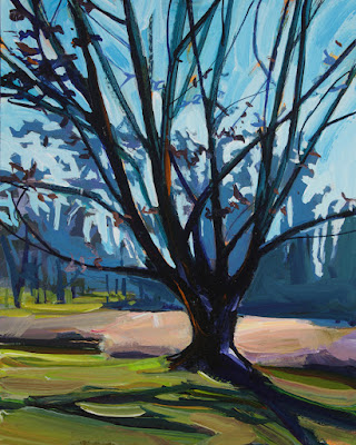 An acrylic painting of a tree at the botanical gardens.