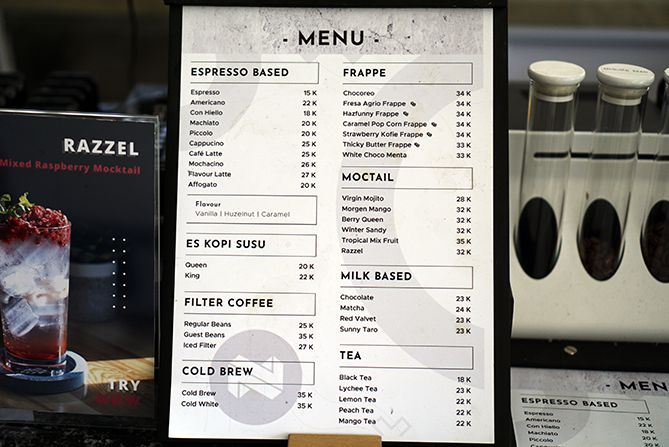 Daftar menu dan harga di Noble Coffee Jogja