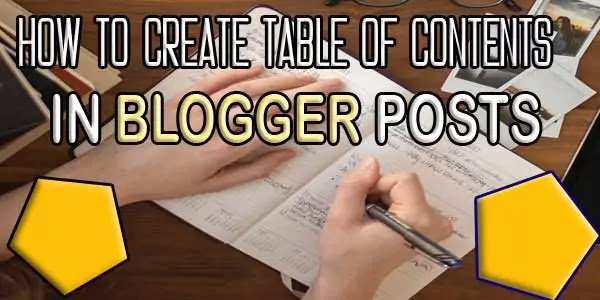 how to create a table of contents in blogger post