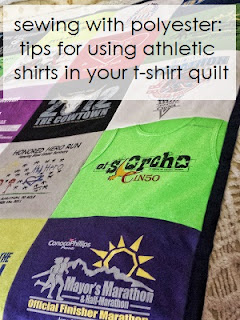 sewing tips for working with athletic / polyester running shirts for t-shirt quilts, by refabulous