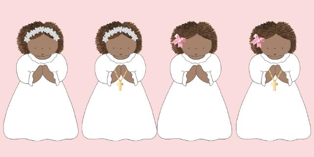 niñas comunión corona y lazo