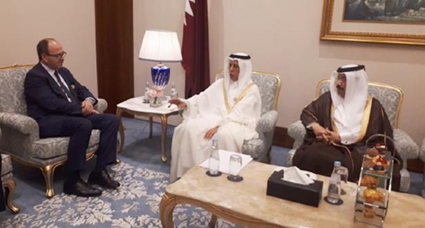 تعزيز العمل البرلماني ومواجهة التحديات محور لقاء بن شماش برئيس مجلس الشورى القطري