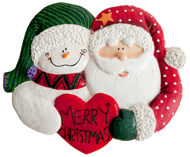 Christmas wall decor with a snowman face and mittened hand, and a santa face and hand holding a heart between them that says Merry Christmas.