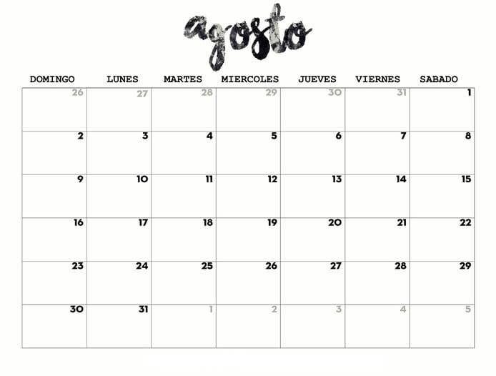 calendario 2020 de agosto  para imprimir