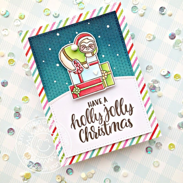 Sunny Studio Stamps: Lazy Christmas Stitched Rectangle Dies Christmas Card by Franci Vignoli