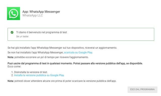 abbandonare la versione beta tester di whatsapp