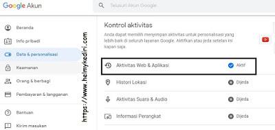 menghapus data pelacakan google