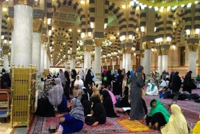 Masjid Nabawi Saat Shalat Ashar Terpantau Ramai
