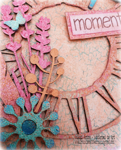 Whiteboard panel with That's Crafty embellishments and Shimmer Paints - by Nikki Acton