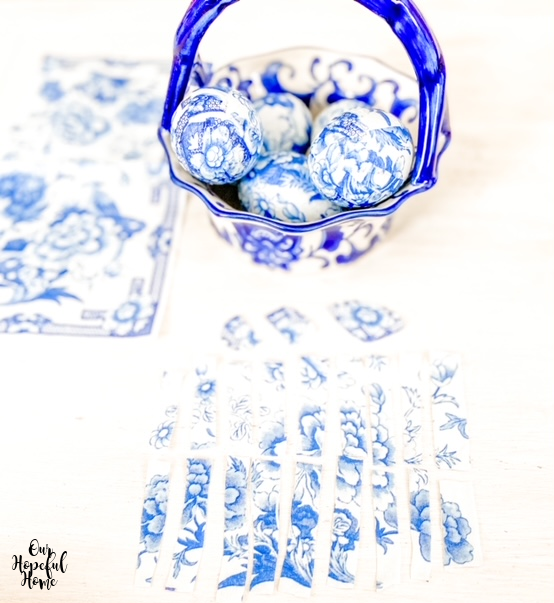 blue china basket chinoiserie easter eggs cocktail napkins