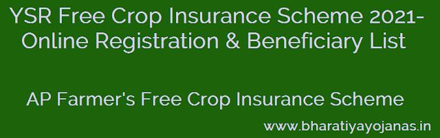 YSR Free Crop Insurance Scheme 2021- Online Registration & Beneficiary List