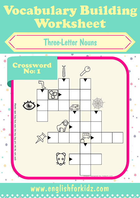 Printable ESL crossword puzzle, three-letter nouns worksheet