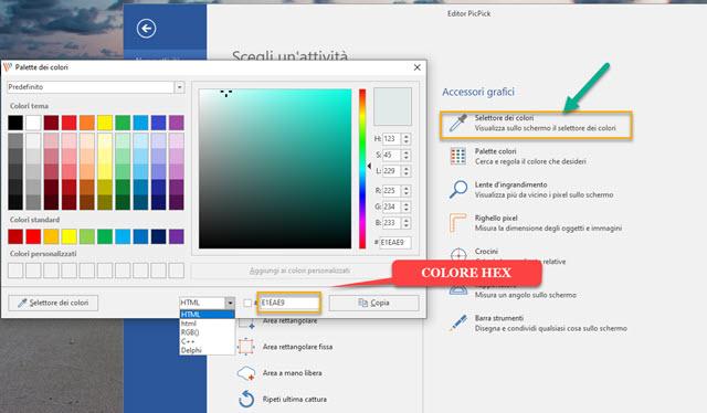 catturare codice colore picpick