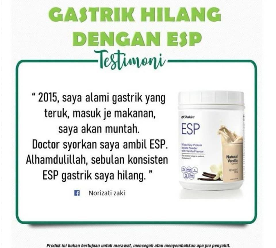 Testimoni ESP untuk Kurangkan Gastrik   Pengedar Shaklee Klang Readystock  (vitaminayu)