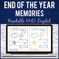 FREE Memory Page for middle school students to record their year and get their friends' signatures!