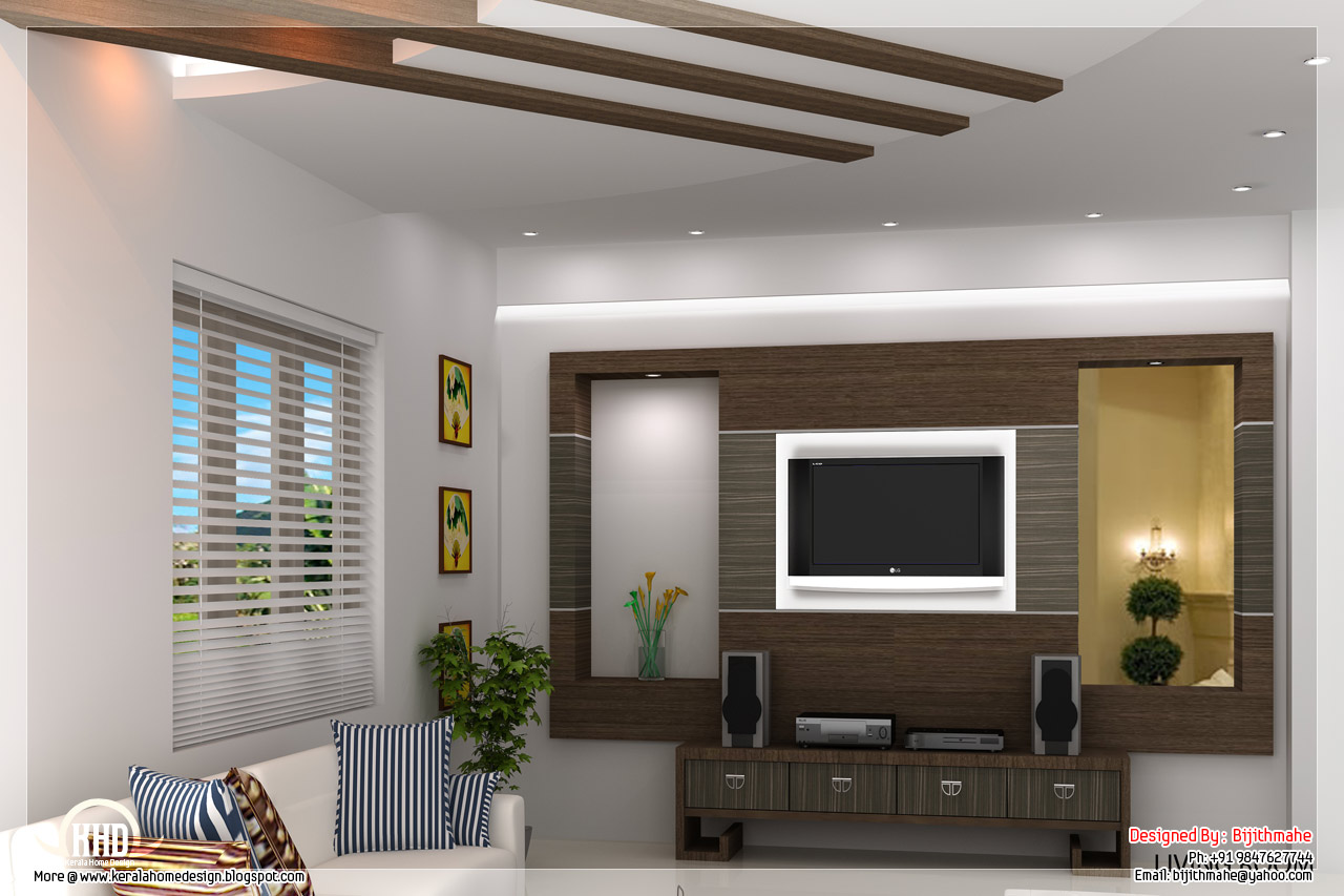 2700 kerala style home plan and elevation kerala for Kerala house living room interior design