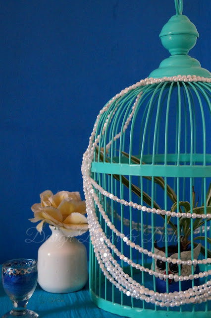 Bird Cage With Pearl Strings