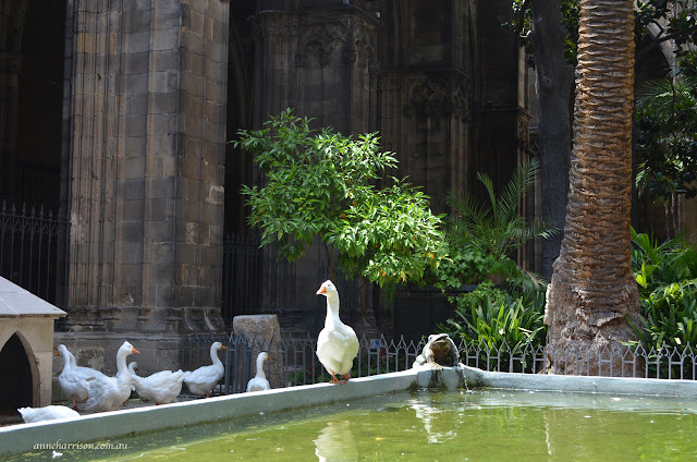 Geese in a Cathedral Cloister