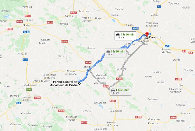 de Zaragoza al Monasterio de Piedra en coche