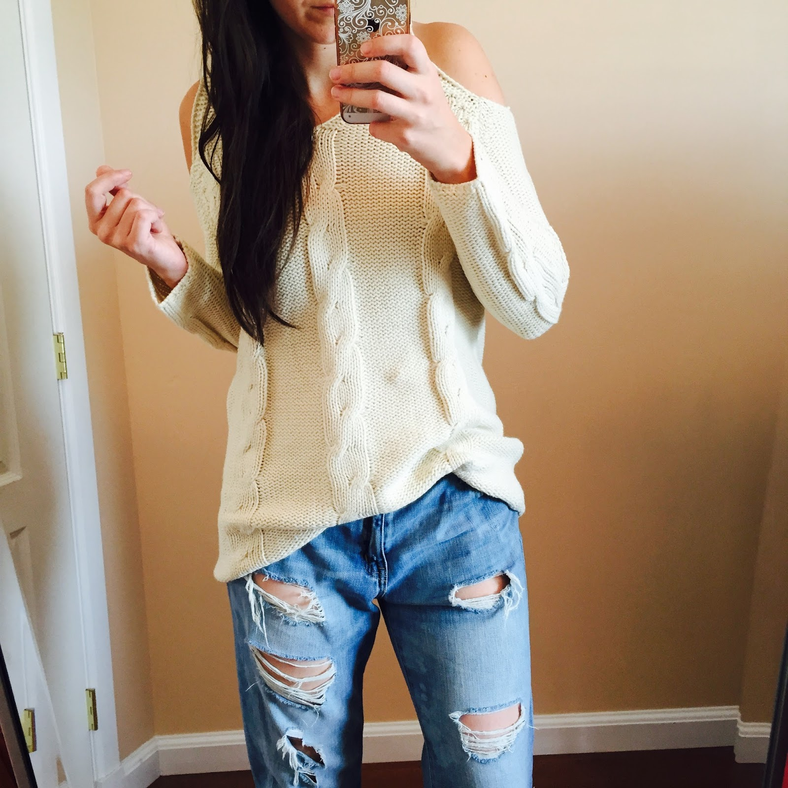 Boyfriend Jeans outfit, boyfriend jeans, Target Boyfriend Jeans, ivory shoulder cut out sweater, lookbook store, how to style a ivory sweater, how to style a sweater, teen fashion, teen fashion outfits, how to style for teenagers, teen outfits,